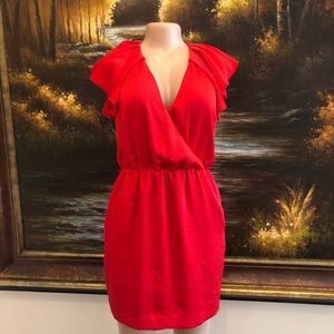 Armani Exchange Flutter Sleeve Dress Red Size 4